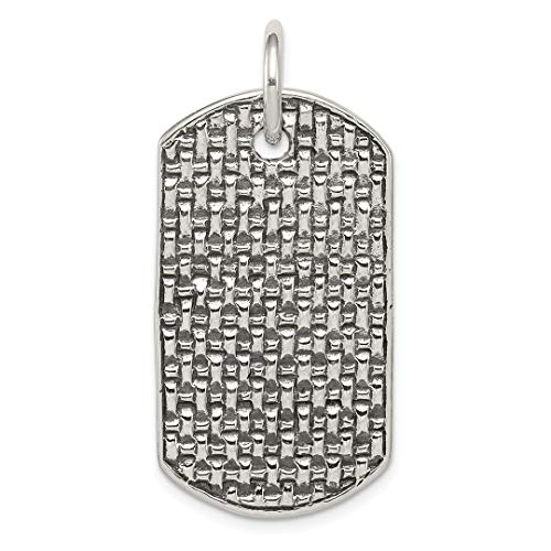 925 Sterling Silver Dog Tag Pendant Charm Necklace Fine Jewelry For Women Gift Set (Tag Silver Charm Dog Pendant)