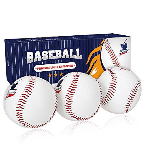 Safety 9' Baseball (JBM international JBM Baseball Practice Ball 3 Pack Standard Baseball 9'' Adult Youth Ball for League Play Practice Competitions Training (White))