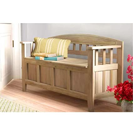 Awesome Amazon Com Hall Storage Bench Rustic Wood With Back Lid Theyellowbook Wood Chair Design Ideas Theyellowbookinfo