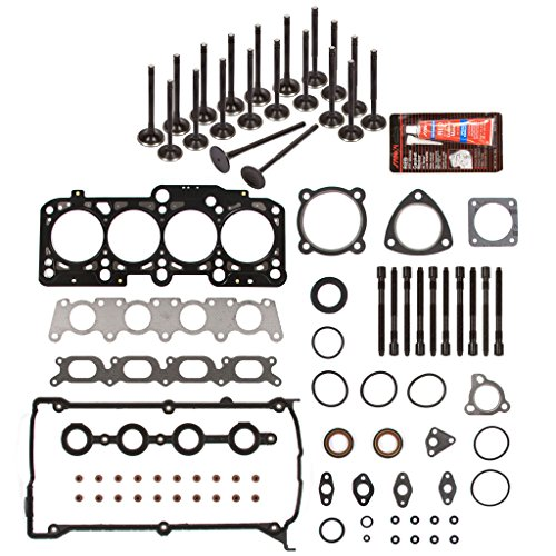Evergreen HSHBIEV9018 Head Gasket Set Head Bolts Intake Exhaust Valves Fits 97-06 Audi A4 TT Quattro Volkswagen Beetle Goft Jetta TURBO 1.8L ()