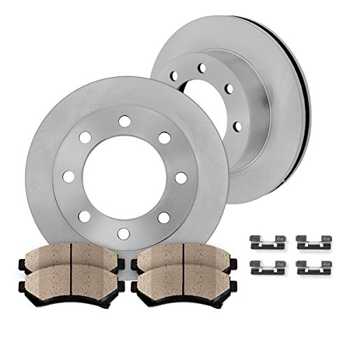 FRONT 324 mm Premium OE 8 Lug [2] Brake Disc Rotors + [4] Ceramic Brake Pads + Clips