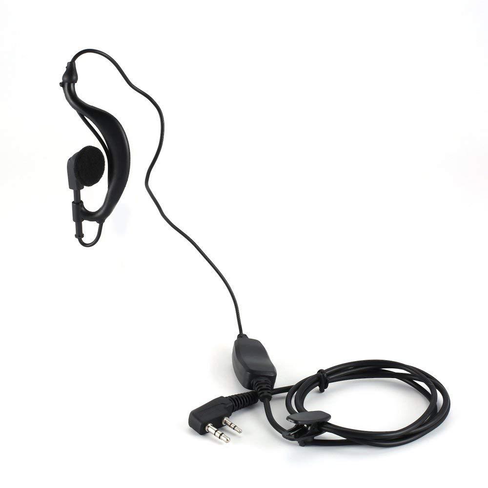BFHCVDF Dual PTT Earpiece Earphone G Shape Earpiece for Baofeng UV-82 UV-82x UV-82c Black