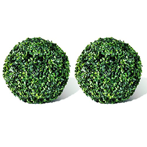 Festnight 2 Pcs 10.6 in. Popular Artificial Plant Topiary Ball Tree Boxwood Wedding Event Home Outdoor Decoration by Festnight