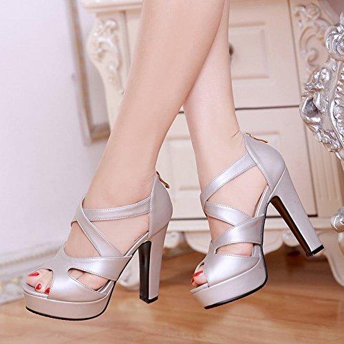 Mee Shoes Damen high heels Reißverschluss Plateau Sandalen Silbergrau