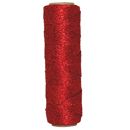 Just Artifacts Eco Metallic Bakers Twine 55yd 11 Ply Solid Red - Decorative Bakers Twine for DIY Crafts and Gift Wrapping