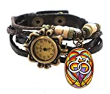 "Gay Brown Boho Leather Charm Bracelet Watch 7"" to 8 1/4"""