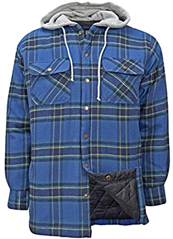 Canyon Guide Outfitters Men's Flannel Plaid Hooded Snap Front Insulated Jacket (X-Large, Green - Canyon Guide