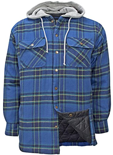 Plaid Hooded Flannel Jacket (Canyon Guide Outfitters Men's Flannel Plaid Hooded Snap Front Insulated Jacket (Large, Green Plaid))