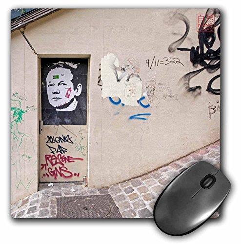 3Drose LLC 8 X 8 X 0.25 Inches Mouse Pad, Wall Graffiti Shows Portrait of Julain Assange, Founder of Wikileaks Montmartre, Paris, France (Mp_107815_1)