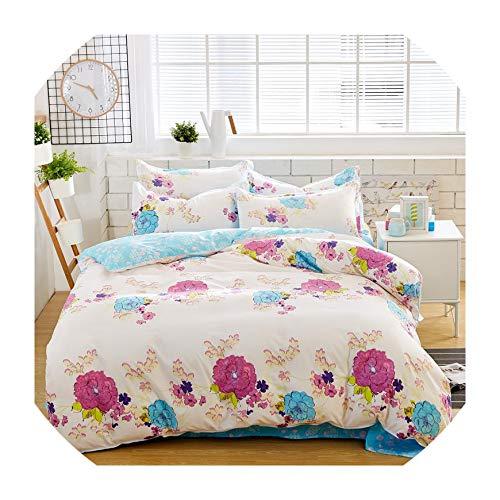 Jifnhtrs Summer Bedding Set Girls Bed linens 3 or 4pcs Flower Heart Bed Set Modern Grid Duvet Cover + Flat Sheet Mans Bed Cover Set,ture Love,Full ()