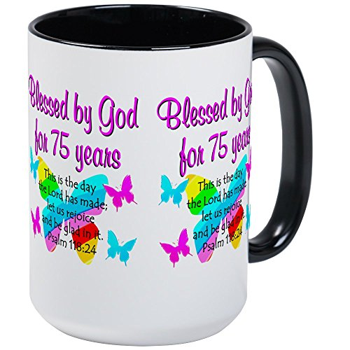 CafePress - 75 YR OLD ANGEL Large Mug - Coffee Mug, Large 15 oz. White Coffee - Mug Angel Large