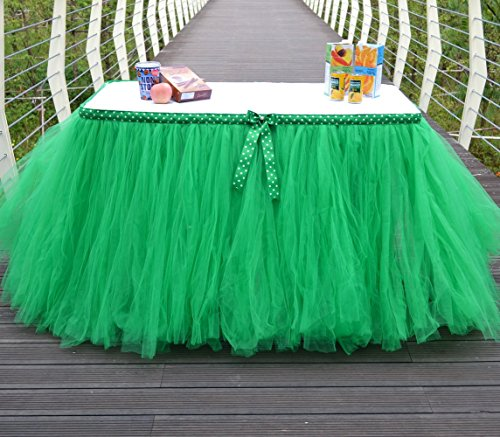 Lanue Handmade Tutu Tulle Princess Wedding Prop Birthday Prom Party Baby Shower Table Skirts Table Cloth with a Bow (Green)