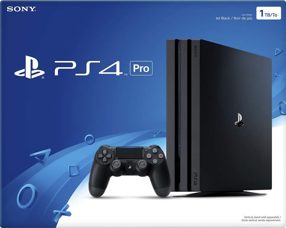 Consola PlayStation 4 Pro con un controlador de doble descarga y cable HDMI, capacidad de transmisión de video 4K para hasta 4 jugadores - Jet Black