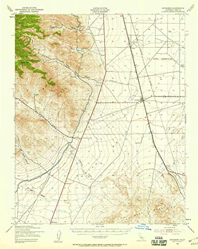 (YellowMaps Inyokern CA topo map, 1:62500 Scale, 15 X 15 Minute, Historical, 1943, Updated 1958, 20.8 x 16.6 in - Tyvek)