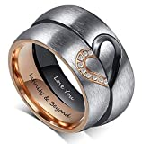 Fortheday Personalized Mens and Womens Promise Rings Set Free Engraving Stainless Steele Engagement Wedding Rings Band Set for Couples (Black+Rose Gold (Rings Set 2pcs)): more info