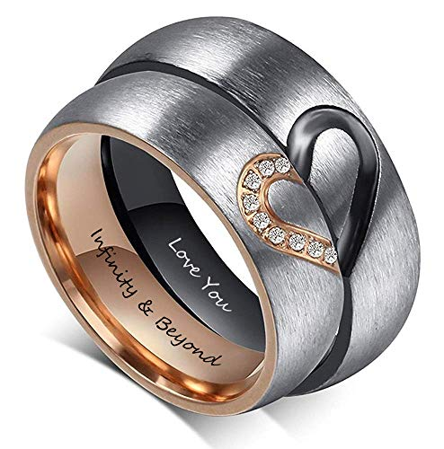 Fortheday Personalized Mens and Womens Promise Rings Set Free Engraving Stainless Steele Engagement Wedding Rings Band Set for Couples (Black+Rose Gold (Rings Set 2pcs))]()