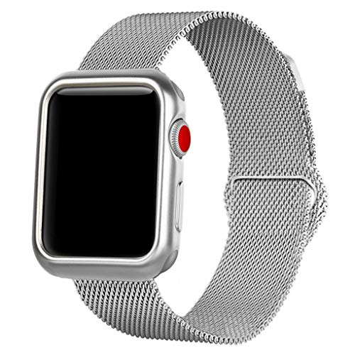 OROBAY Compatible with iWatch Band Case 38mm, Stainless Steel Magnetic Mesh Milanese Loop Band with Soft TPU Case Compatible with Apple Watch Series 3 Series 2 Series 1, Silver by OROBAY (Image #2)