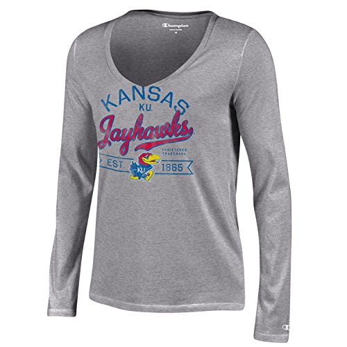 Champion NCAA Kansas Jayhawks Women's University Long sleeve V-Neck T-Shirt, Large, Gray