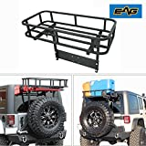EAG Steel Rear Cargo Carrier Basket With Hi-Lift Jack Mount for EAG Rear Bumper (JK Rear Bumper with Tire Carrier & 51-0015 & 51-0011)