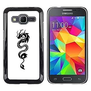 Caucho caso de Shell duro de la cubierta de accesorios de protección BY RAYDREAMMM - Samsung Galaxy Core Prime SM-G360 - Ink Tattoo White Black