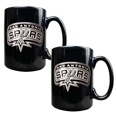 NBA San Antonio Spurs Two Piece Black Ceramic Mug Set - Primary Logo
