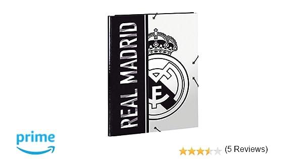 Safta 511854068 2018 Real Madrid Carpeta solapas 34 cm, Blanco y Negro