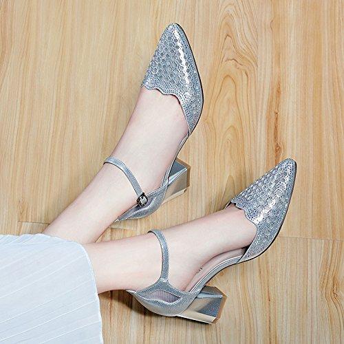HUAIHAIZ Tacones altosLa mujer con el tobillo talón sandalias, hebilla de cables Silver