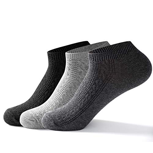 Mens Ankle Low Cut Socks - Best Comfy Breathable Casual Non-Slid Cotton Wicking Socks (3 Colors, S/M)