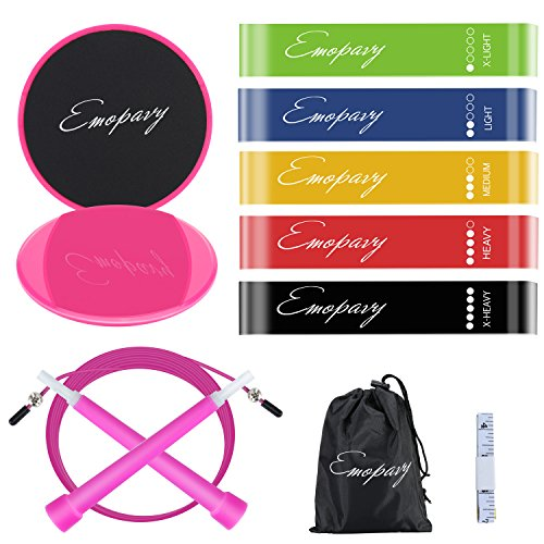Emopavy Resistance Loop Exercise Bands set of 5 with Gliding Core Sliders...