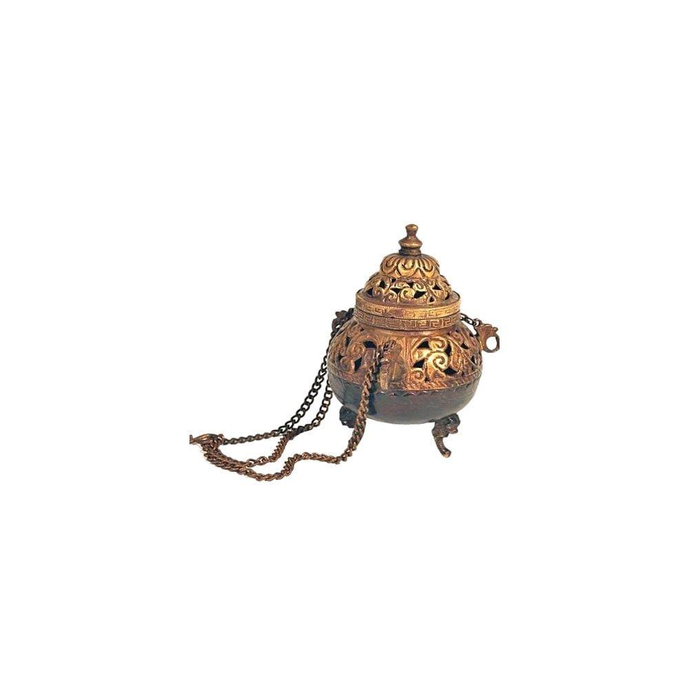Sacred Essence Church Style Antique Brass Finish Hanging Incense Burner