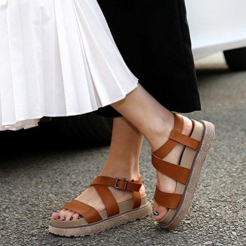 Femmes Sandales wealsex Plateforme Plates Spartiates 40 Taille Grande 43 Brun Bride Ouvert PU Boucle Bout Cuir CqIwqrdn