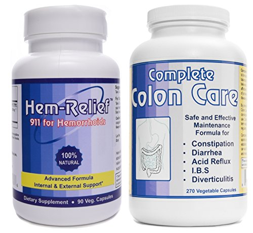 Western Herbal and Nutrition | Hem-Relief (90 caps) & Complete Colon Care (270 caps) | Advanced Hemorrhoid Care | 100% Natural Formula | Internal & External Support | 2 Bottle Pack