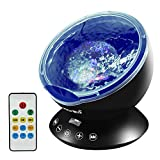 Emotionlite Ocean Wave Projector Night Light, Built-in Mini Relaxing Music Speaker, Remote Control, 12 LED & 7 Colors Changing Modes for Kids Adult Living Room and Bedroom