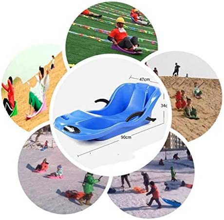 GJW Snow Kids Toboggan with Brakes, Heavy Dut Plastic Toddler Kids Youth Mini Pull Sled with Comfortable Pull Rope, Outdoor Sport Snow Sled, Downhill Winter Toboggan Snow Sled (Color : Purple)