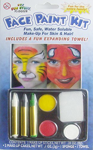 Halloween 5-Color Face Painting Kits - Fun Safe Water Soluble Make-Up For Skin And Hair (White-Black-Green-Yellow-Red) ()