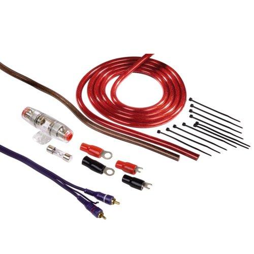 Hama Anschluss-Set für Car Hifi-Verstärker, AMP-Kit mit Powerkabeln (16 mm²), Cinchkabel, Sicherungshalter, Sicherung, Gabelkabelschuhen, Kabelbinder