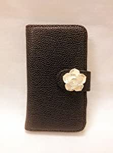 Luxury Crystal Rhinestone Camellia Leather Card Flip Card Holder Wallet Case Cover for NOKIA lumia 710 (black)