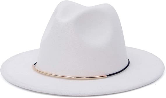 EOZY Wide Brim Fedora Hat for Men Womens Retro Flat Brim Jazz Hat Wool Felt Panama Trilby Hat Gentleman Hat