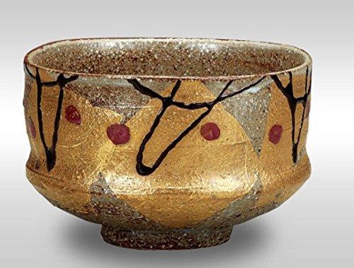 Japanese drawn Ceramic Porcelain kutani ware. Japanese matcha tea bowl chawan with wooden box. Gold Flowers.'' Japanese ceramic Hagiyakiya K4-842 by Kutani