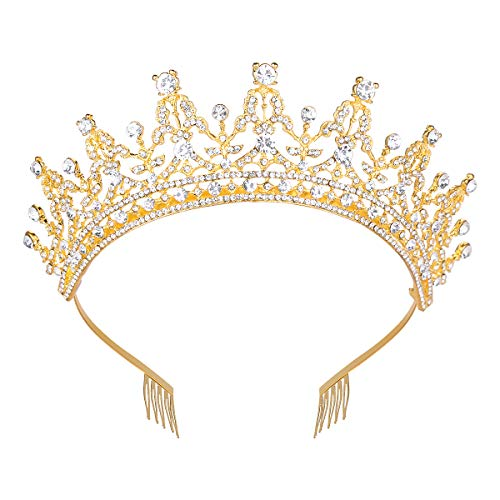 Makone Queen Crown for Womens Gold Tiara with Clear Rhinestone for Halloween Birthday Girls Prom Halloween Bridal ()