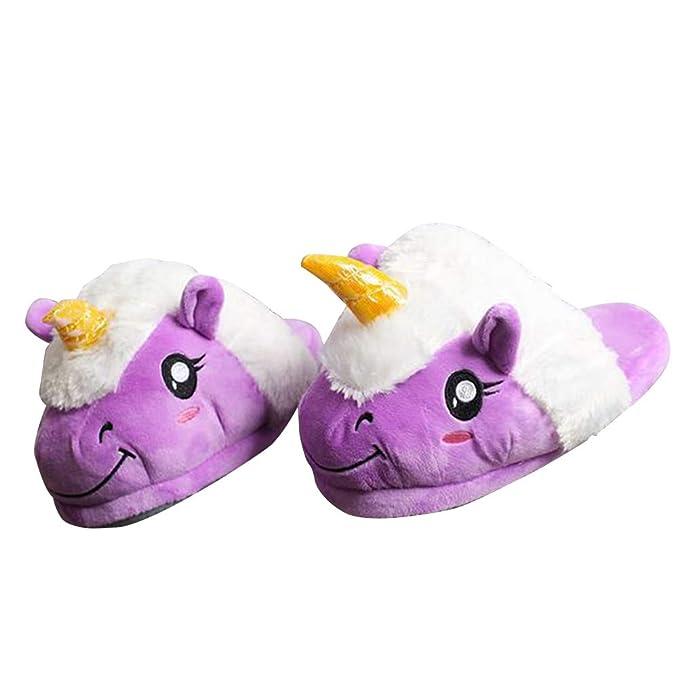 LUOEM FENICAL Zapatillas Croissant Felpa Unicornio Zapatillas de algodón de invierno para mujeres niñas 35-