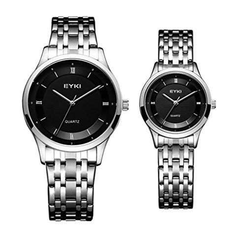 TIDOO Women Men Quartz Watch Dress Wristwatches Fashion Casual Couple Silver Watches for Lover by TIDOO