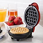 """Dash Mini Maker: The Mini Waffle Maker Machine for Individual Waffles, Paninis, Hash browns, & other on the go Breakfast, Lunch, or Snacks 9 MORE THAN WAFFLES: Make paninis, hash browns, and even biscuit pizzas! Any wet batter will """"waffle"""" your treats and snacks into single serving portions. Great for kids or on the go! COMPACT + LIGHTWEIGHT: Weighing 1lb+, this is a MUST-HAVE for that first apartment, smaller kitchen, college dorm life, or camper/RV traveling QUICK + EASY: Simply plug it in and go; it heats up in mere minutes. The dual non-stick surfaces provide an even cook for consistent results, each and every time"""