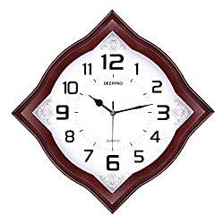 DEEPPRO Silent Wall Clock Solid Wood 14-inches Diamond Non Ticking Digital Quiet Sweep Decorative Vintage Wooden Clock (Dark brown)