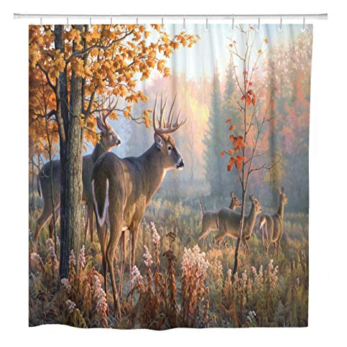 ArtSocket Shower Curtain Autumn Nature Wildlife Animal Deers Hunting Season Home Bathroom Decor Polyester Fabric Waterproof 60 x 72 Inches Set with Hooks