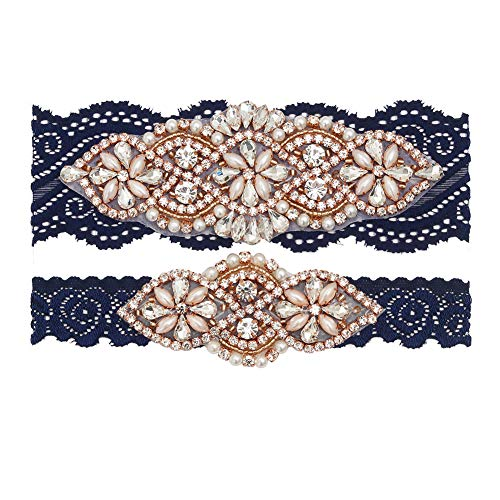 (yanstar Wedding Bridal Garter Navy Stretch Lace Bridal Garter Sets with Rose Gold Rhinestones Clear Crystal Pearl for Wedding)
