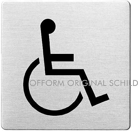 OFFORM Plaque de porte en acier inox bross/é pictogramme WC Femmes 85x85 mm No.8926