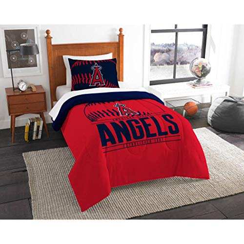 - 2 Piece MLB Los Angeles Angels Comforter Twin Set, Sports Patterned Bedding Featuring Team Logo, Fan Merchandise, Team Spirit, Baseball Themed, Major League Baseball, Blue Red, For Unisex