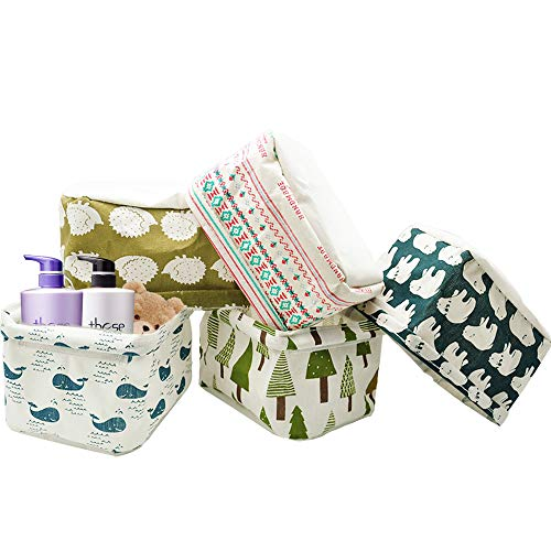 Miracliy Foldable Storage Basket Home Decorative Canvas Box Baskets for Baby Clothing, 5 pack