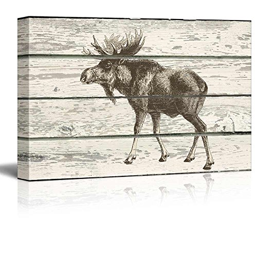 wall26 - Sketched Drawing of a Moose on a Rustic Background - Canvas Art Home Decor - 24x36 inches